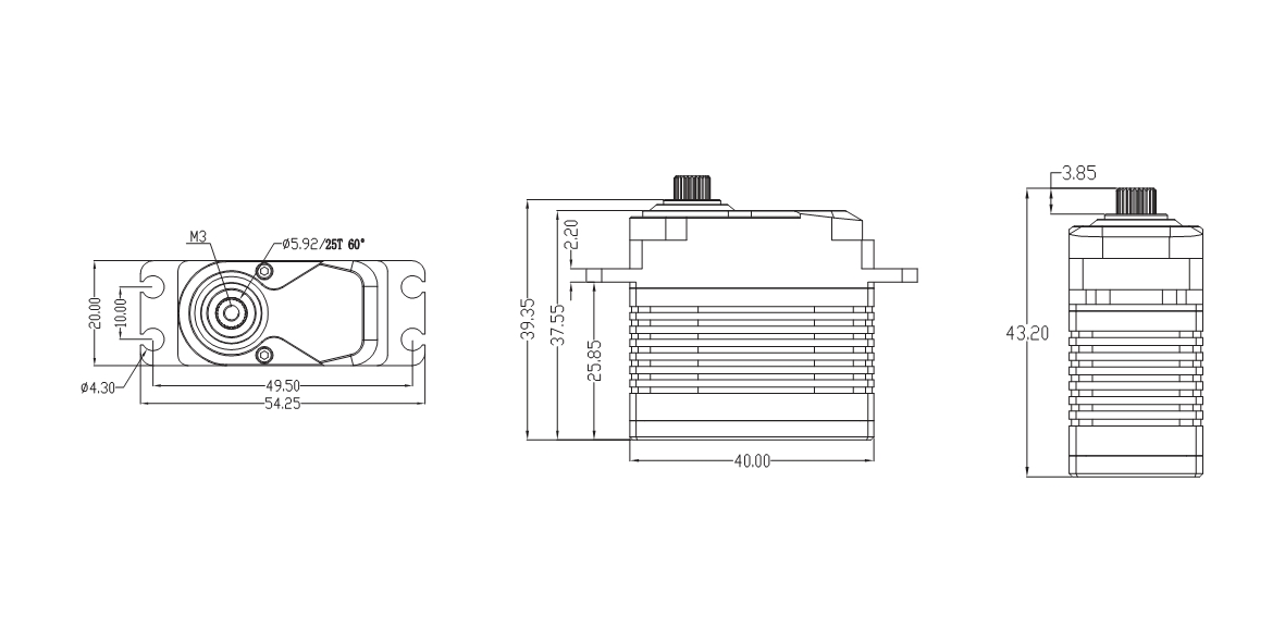 drawing of BLS5808 servo