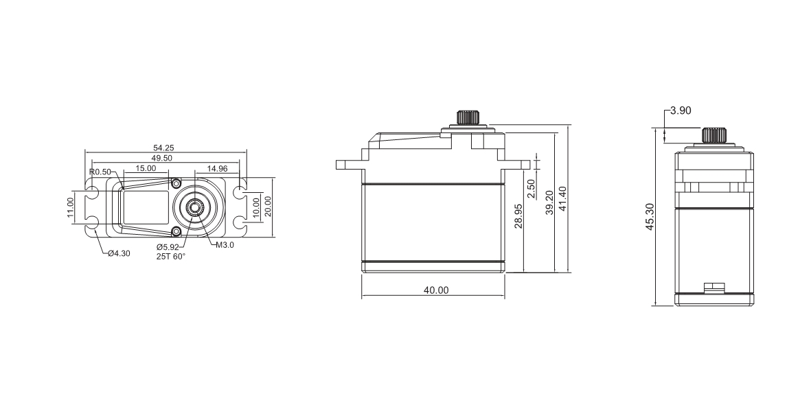 drawing of BLS 9130 servo
